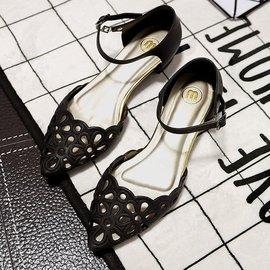女士夏天果凍塑料涼鞋中跟尖頭鏤空包頭粗跟羅馬顯瘦 涼鞋