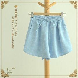 2016夏裝 文藝清新棉麻格子熱褲松緊腰 短褲日系森女系女裝
