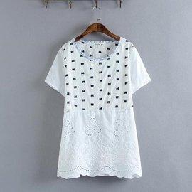 短袖純棉刺繡鏤空襯衫 甜美清新中長款襯衣服裝款式細節: 鏤空 繡花 拼接