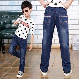 男童牛仔褲夏裝薄款男孩長褲子兒童春秋加肥加大童直筒寬鬆牛仔褲