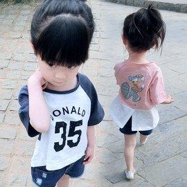 女童T恤 女小童夏裝短袖t恤棉質兒童打底衫1~4歲寶寶上衣服T恤(型男原創館)