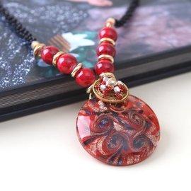 原創七夕  夸張飾品復古波西米亞琉璃長項鍊掛飾項鍊女