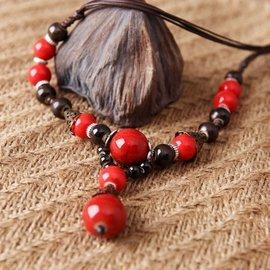 景德鎮陶瓷飾品高溫顏色釉鎖骨鏈民族風裙子鏈女款陶瓷項鍊