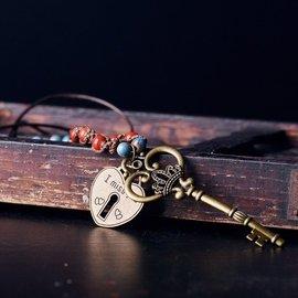 情侶項鍊男女士 鑰匙心形鎖吊墜一對 刻字