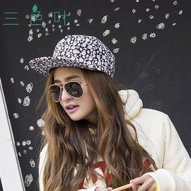 三色葉韓國骷髏刺繡平檐棒球帽 原宿平沿女式 潮帽嘻哈帽