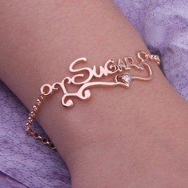 純銀925手鏈名字字母手鏈刻字 手鏈可加瑞士鑽石
