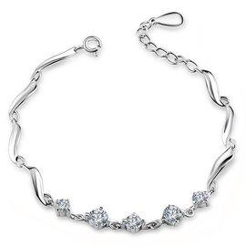 情人節洛詩925純銀女 首飾五鑽石銀飾品七夕情侶手鏈