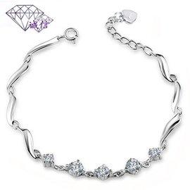 正品純銀925婉轉女士水晶手鏈 鑲鑽石韓國飾品鏈包郵送禮