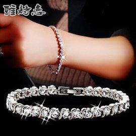 正品  AAA鋯石簡約水晶羅馬鑽石手鏈女  情人