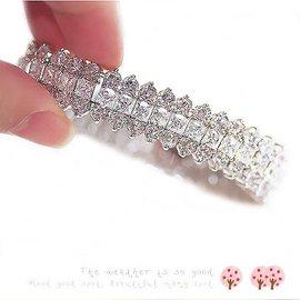 包郵高貴奢華閃亮鑽石晚禮服宴會水晶伴娘手鏈新娘結婚 手鐲