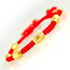 18k黃金 手鏈 紅繩轉運珠男女款 情人節 送鑽石戒指 順豐特快