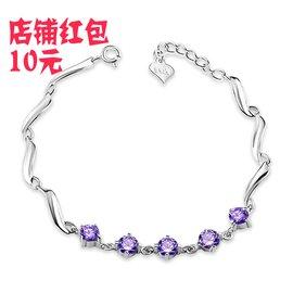 五鑽 婉轉手鏈版 鑲鑽石 韓國純銀飾品包郵女