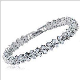 爆閃3A鋯石鑽石水晶羅馬手鏈冰雪王後送女友 正品首飾 包郵