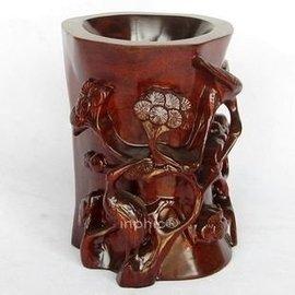 賈伯商城~紅木工藝品木雕刻擺飾 雙鶴同松松鶴延年筆筒 祝壽