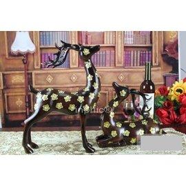 賈伯商城~小款雙鹿工藝品 仿紅木樹 家居、酒店吉祥擺設 高檔一組