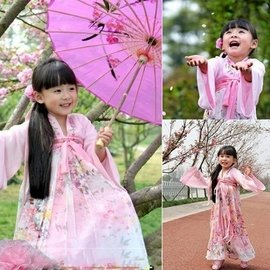 38616934572 女童漢服櫻花小蘿莉 兒童古裝齊胸襦裙民族服裝古箏表演服