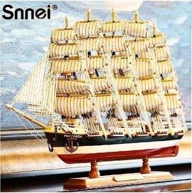 ~~Snnei 木質帆船模型擺件 地中海仿真實木船裝飾 一帆風順工藝船~4 實木打造 環保
