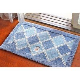 門廳地墊地毯 入戶玄關吸水墊 廚房臥室門口腳墊 腳踏墊進門門墊 織物格子藍色 F41 ~毯