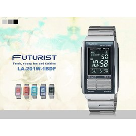 CASIO Futurist系列積木錶金屬版LA~201W~1BDF casio 生日