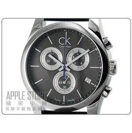 CK  Calvin Klein Strive 凱文克萊 三眼計時皮帶錶~黑^#K0K27