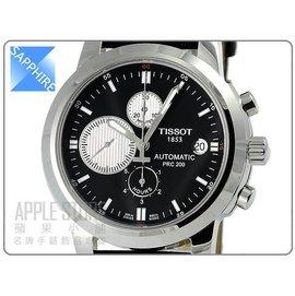 TISSOT 天梭 PRC200 三眼計時機械皮帶錶~黑 T0144271605100