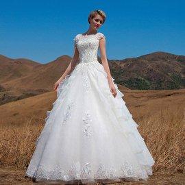 名門新娘 婚紗禮服 2014 復古婚紗一字肩蕾絲立體花朵婚紗562