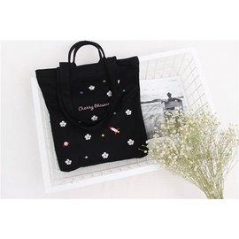 韓國同款櫻花刺繡手提2用帆布包
