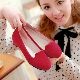 巴黎足印 甜美日 低跟圓頭休閒學生粗跟簡約套腳單鞋女鞋