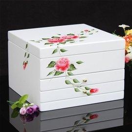 37455938564 清新田園手繪風格 木質首飾盒 歐式韓國公主飾品收納盒珠寶盒 首飾