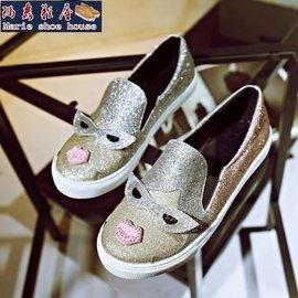 ~瑪麗鞋屋~大 女鞋 2015 亮片懶人鞋混搭 厚底單鞋 大碼40碼拼色可愛女鞋