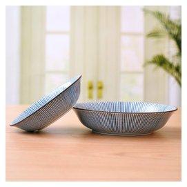 愛悅居  碗碟餐具套裝 陶瓷湯碗 米飯碗盤子 美濃燒釉下彩日式餐具6人家用西餐牛排盤 藍十