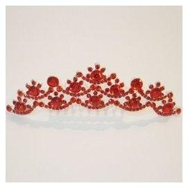 艾美諾 紅色頭飾 婚紗禮服 韓國 鑲鑽閃亮皇冠 新娘皇冠發箍 結婚配飾 ~092 紅色