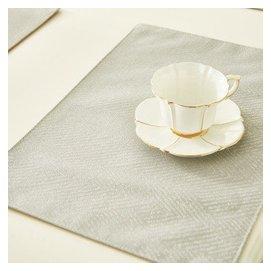 和庭家居 簡約風格色織提花可機洗不變形不褪色桌墊 餐墊 隔熱墊 杯墊 桌布罩件 銀灰色 定