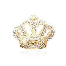 雅蝶娜 韓國飾品 水鑽胸花 皇冠胸針 高檔別針 女領針 金色