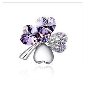 品信飾品 奧地利水晶胸針~~幸福四葉草 甜美幸運 胸花配飾 生日 紫羅蘭