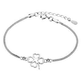 925純銀首飾品 幸福四葉草無鑽石手鏈 首飾配飾 女款素美手鐲