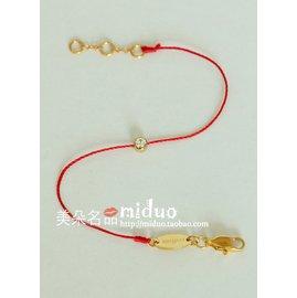 定制 鑽石裸鑽redline紅繩鈦鋼鍍18K金情侶紅繩手鏈手繩細線配飾
