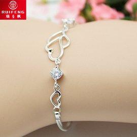 包郵純銀時代925銀雙愛心紫水晶鑽石手鏈 女 銀飾品手飾 首飾