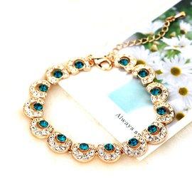 奢華綠寶石手鏈手鐲 鑲瑞士鑽石水晶 玫瑰金手鏈 女晚宴