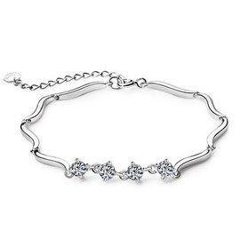 925純銀實心鑽石手鏈