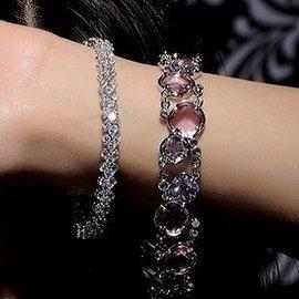 配飾包郵新娘鑽石 閃亮 全水鑽18K真金水晶女人節 手鏈
