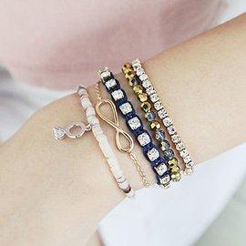 ~韓國飾品 ~閃亮奧地利鑽石戒指掛墜貝殼水晶多件套彈力手鏈