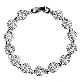 黛若飾品 戀上你  奢華克拉SONA鑽石八心八箭手鏈女18K52
