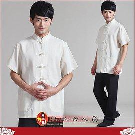 中國風男士唐裝∼驚喜價550元~書卷氣質十足的純色亞麻短袖上衣