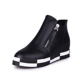 新品內增高短靴女靴雙拉鏈中跟厚底松糕鞋 馬丁靴單靴