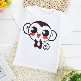 夏 男童短袖T恤純棉百搭兒童半袖女童體恤圓領寶寶打底衫白色