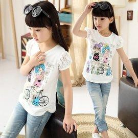 女童 夏裝休閒卡通純棉兒童白色T恤吸汗圓領上衣潮短袖衫面料: