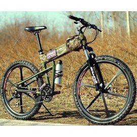 三色 悍馬一體輪山地車自行車 鋁合金雙碟剎 折疊山地車 超捷安特