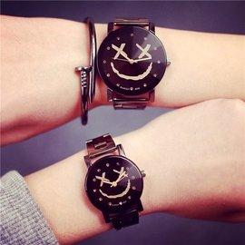 潮流復古情侶表學生鋼帶概念 簡約笑臉男女士手表一對