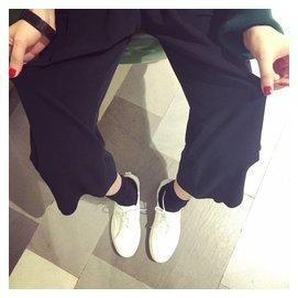 韓國復古高腰顯瘦 褲簡約百搭長褲呢料寬松七分褲闊腳褲女